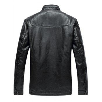 Stand Collar Pocket Padded Faux Leather Jacket - BLACK 2XL