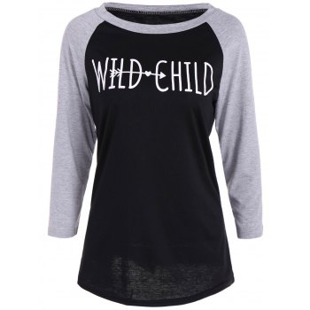 Wild Child Print Raglan Sleeves Funny Graphic Tees