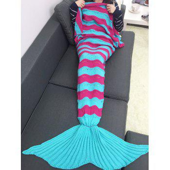 Warmth Stripe Pattern Knitting Mermaid Tail Blanket - WINDSOR BLUE