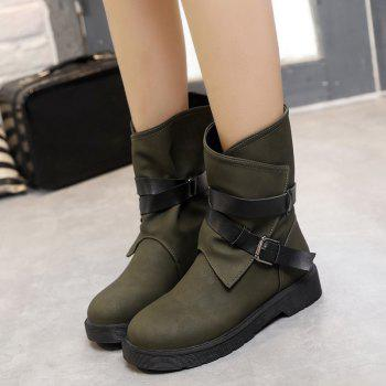 Cross Straps Flat Heel Buckle Boots