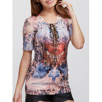 Punk Criss Cross Bandage Gothic Print Ripped T-Shirt