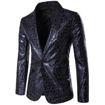 PU Leather Lapel Leopard One Button Blazer