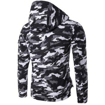 Camouflage Hooded Multi Pockets Jacket - BLACK M