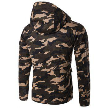 Camouflage Hooded Multi Pockets Jacket - ARMY GREEN L
