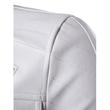 Hooded Faux Twinset Zipper Design PU Leather Jacket - WHITE L