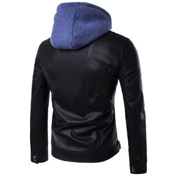 Hooded Faux Twinset Zipper Design PU Leather Jacket - BLACK 2XL