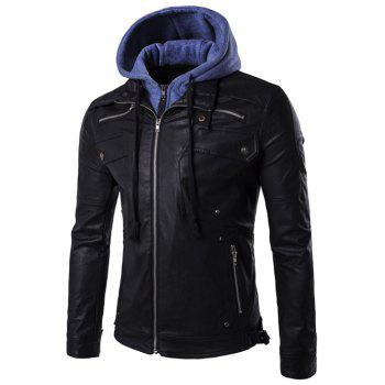 Hooded Faux Twinset Zipper Design PU Leather Jacket