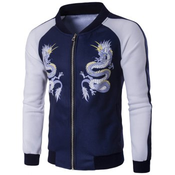 Zip Up Dragon Print Raglan Sleeve Jacket