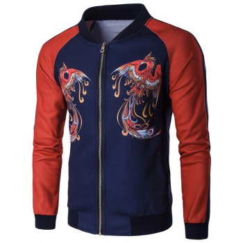 Zip Up Phoenix Print Raglan Sleeve Jacket