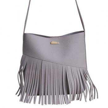 Fringe Textured PU Leather Crossbody Bag