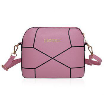 Letter Geometric Print PU Leather Crossbody Bag