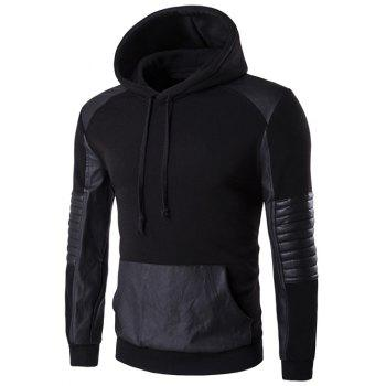 PU Leather Splicing Design Color Block Hoodie