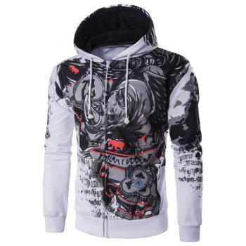 Abstract Print Hooded Zip Up Hoodie
