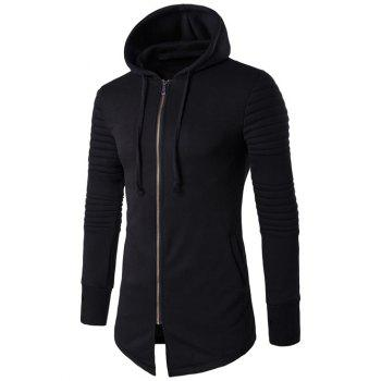 Longline Graphic Print Zip Up Rib Design Hoodie
