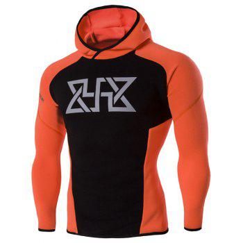Buy Color Block Spliced Graphic Print Raglan Sleeve Sport Hoodie ORANGE