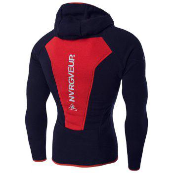 Color Block Spliced ​​imprimé graphique Raglan manches Sport Hoodie - Rouge 2XL