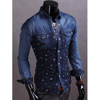 Denim Spliced Stars Print Turndown Collar Shirt - M M