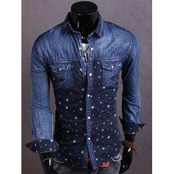Denim Spliced Stars Print Turndown Collar Shirt - CADETBLUE M