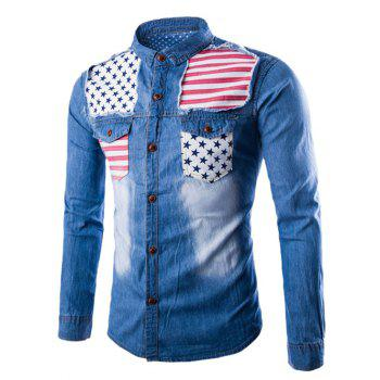 Stars and Stripes Applique Denim Shirt - LIGHT BLUE M