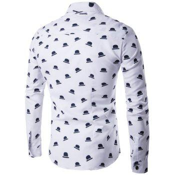 Hat Print Turndown Collar Long Sleeve Shirt - WHITE WHITE