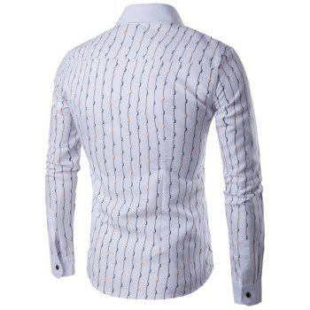 Wave Line Printed Turndown Collar Long Sleeve Shirt - WHITE 2XL