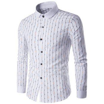 Wave Line Printed Turndown Collar Long Sleeve Shirt - WHITE WHITE