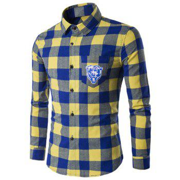 Tiger Print Pocket Tartan Long Sleeve Shirt