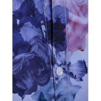 Florals Wash Painting Print Long Sleeve Shirt - BLUE 2XL