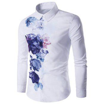 Florals Wash Painting Print Long Sleeve Shirt - WHITE WHITE