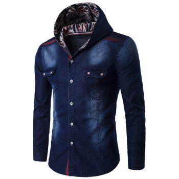 Color Block Spliced Hooded Long Sleeve Denim Shirt