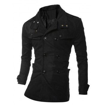 Double Breasted Epaulet Embellished Woolen Coat