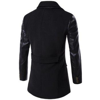 Turndown Collar PU-Leather Spliced Double Breasted Coat - BLACK M
