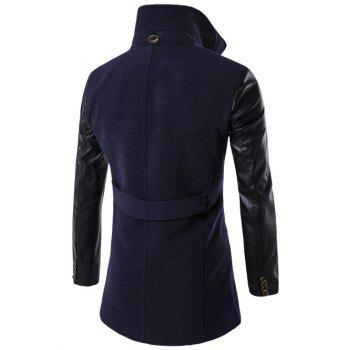 Turndown Collar PU-Leather Spliced Double Breasted Coat - CADETBLUE 3XL