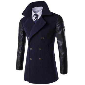 Turndown Collar PU-Leather Spliced Double Breasted Coat