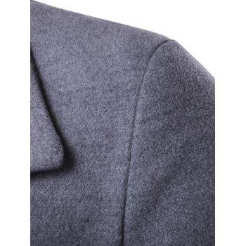 Oblique Single Breasted Stirpe Design Wool Coat - GRAY XL