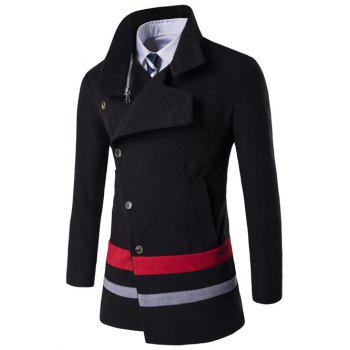 Buy Oblique Single Breasted Stirpe Design Wool Coat