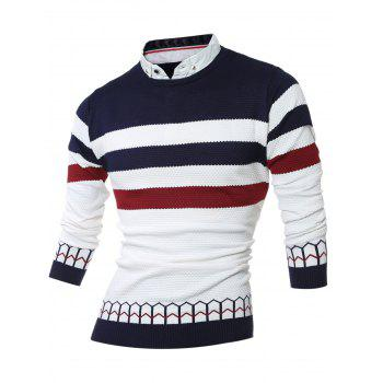 Buy Shirt Collar Faux Twinset Color Block Stripe Spliced Knitting Sweater CADETBLUE