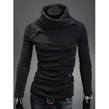 Turtle Neck Oblique Buttons Embellished Long Sleeve Sweater