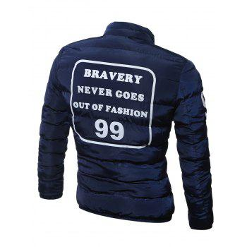 Plus Size Graphic Print Stand Collar Zip Up Quilted Jacket - CADETBLUE M
