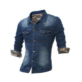 Turndown Collar Plus Size Camouflage Turnup Denim Jacket