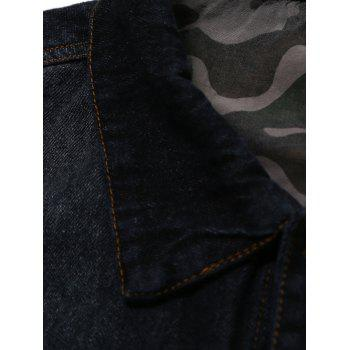 Turndown Collar Plus Size Camouflage Turnup Denim Jacket - DEEP BLUE L