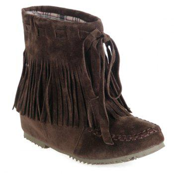 Lace Up Fringe Ankle Boots