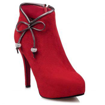 Bowknot Stiletto Heel Suede Ankle Boots