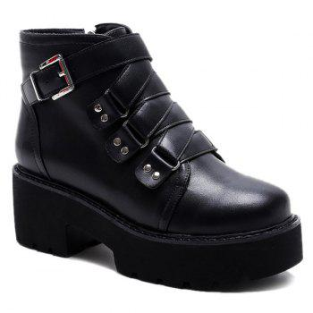 Buckled Zipper Ankle Boots