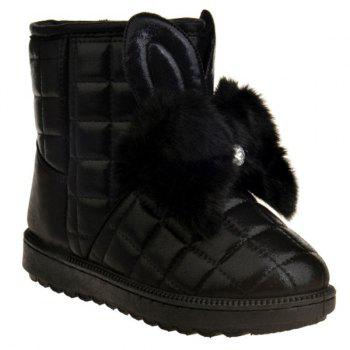 Faux Fur Checked Snow Boots