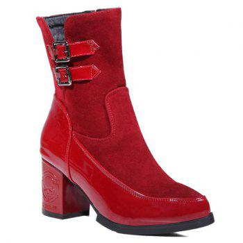 Spliced Buckle Chunky Heel Ankle Boots