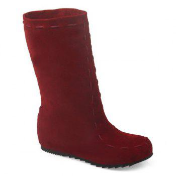 Increased Internal Suede Mid Calf Boots