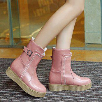 Stitched Buckle Platform Ankle Boots - PINK 38