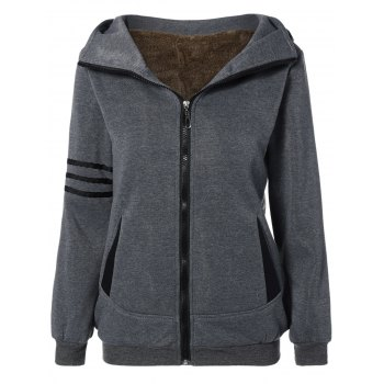 Striped Flocking Hooded Zippered Jacket