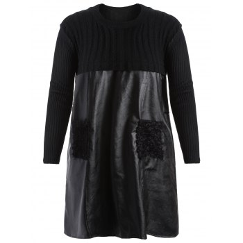 Plus Size PU Leather Splicing Ribbed Knit Dress